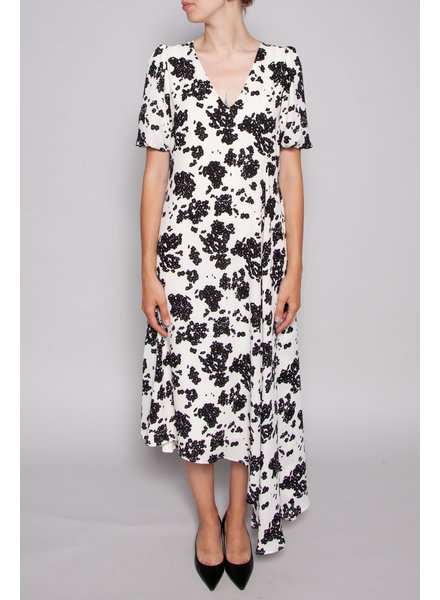 Notes du Nord ASYMMETRIC DRESS WITH BLACK FLOWERS - NEW