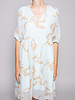 Notes du Nord OMEGA TURQUOISE DRESS WITH GOLD PRINT AND 3/4 SLEEVES - NEW WITH TAG