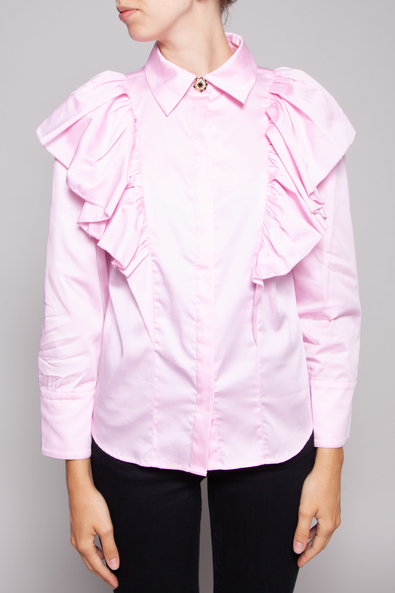 Notes du Nord OAKLEY PINK RUFFLE SHIRT WITH JEWELERY BUTTONS - NEW WITH TAG