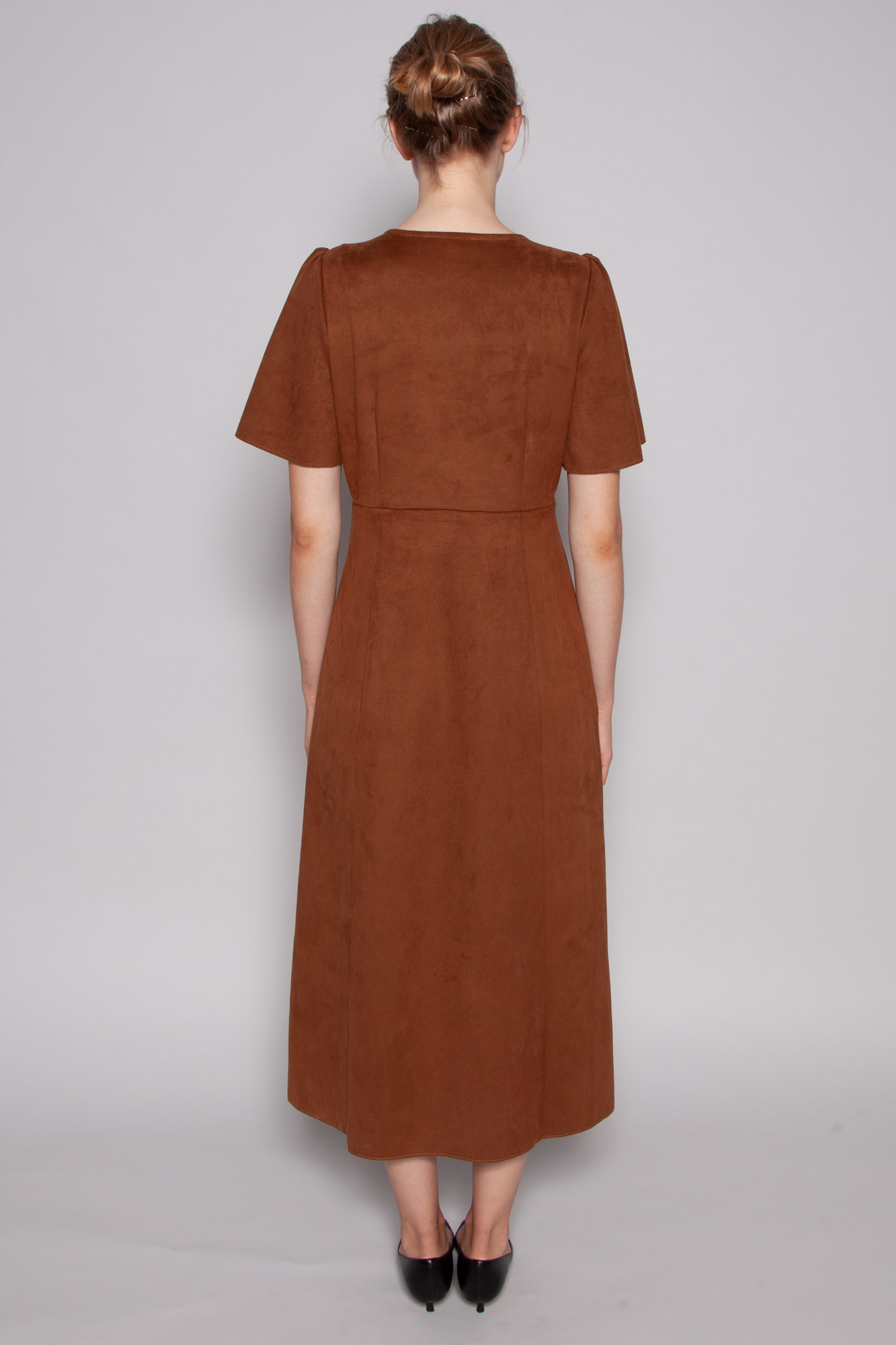 Hide BROWN SUEDE DRESS WITH BUTTONS  - NEW