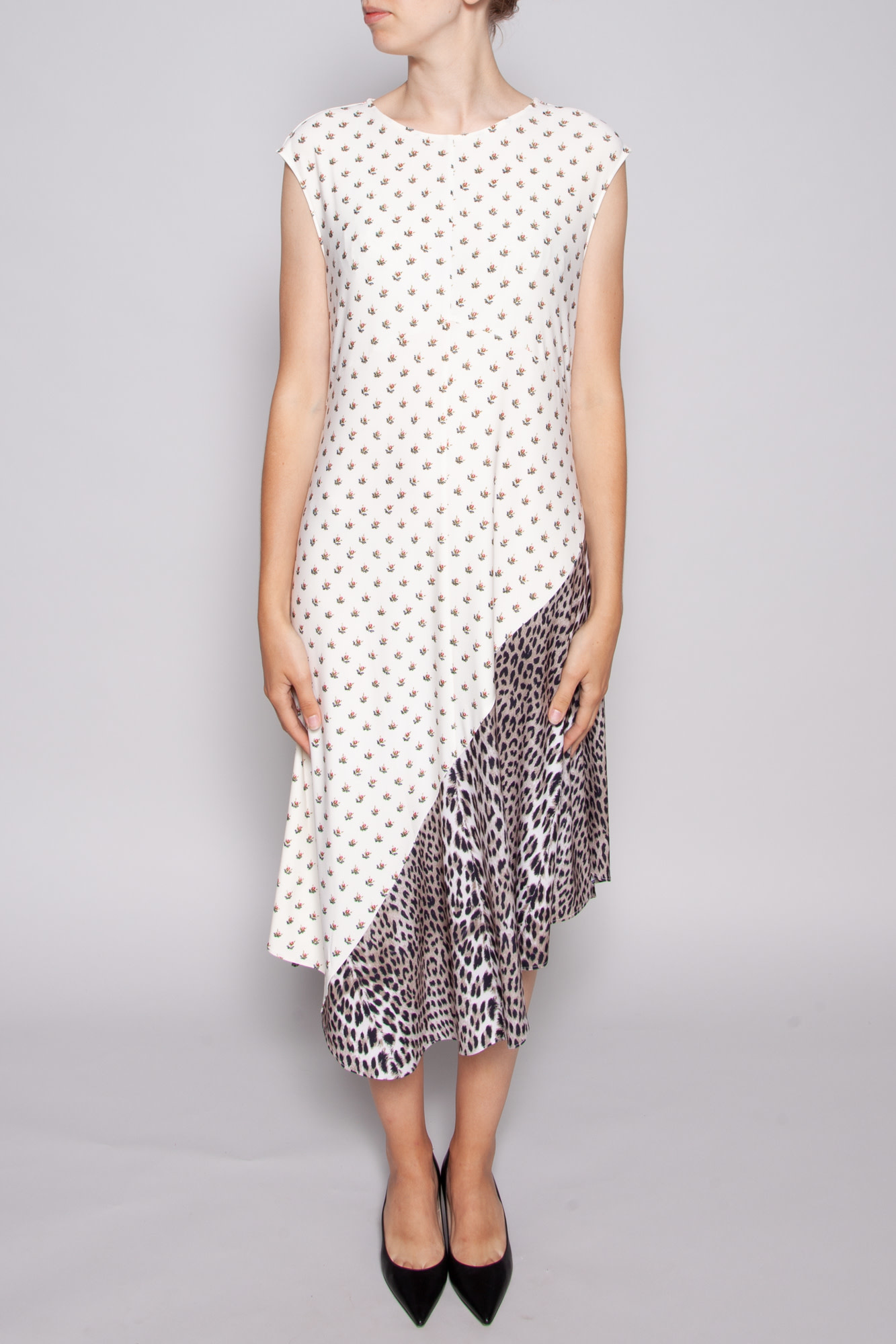 Notes du Nord LONG FLOWERY AND CHEETAH PRINT DRESS - NEW WITH TAGS