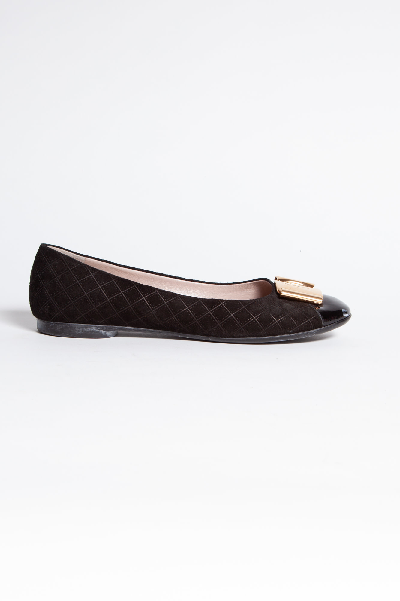 Salvatore Ferragamo BLACK FLATS WITH GOLD BUCKLE