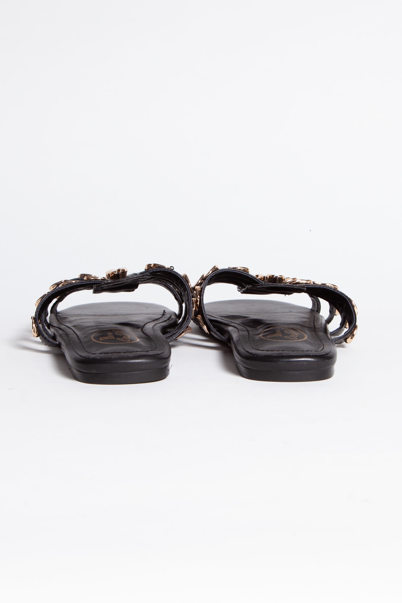 Browns Couture BLACK LEATHER SANDALS WITH GOLDEN SHELLS