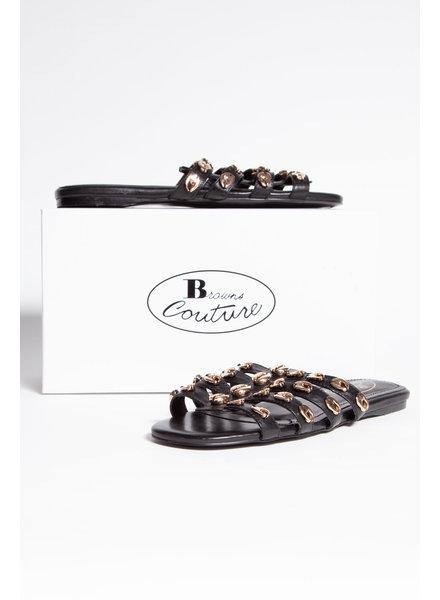 Browns Couture SANDALES NOIRES EN CUIR AVEC COQUILLAGES DORÉS