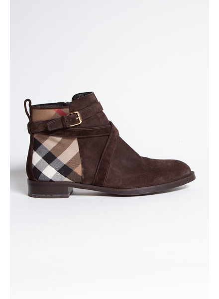 Burberry TARTAN PATTERN SUED ANKLE BOOTS BROWN