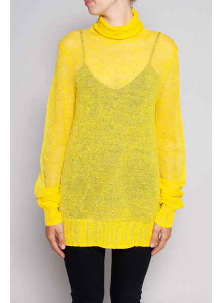 COS YELLOW TRANSPARENT KNITTED SWEATER WITH TURTLE NECK - NEW WITH TAG