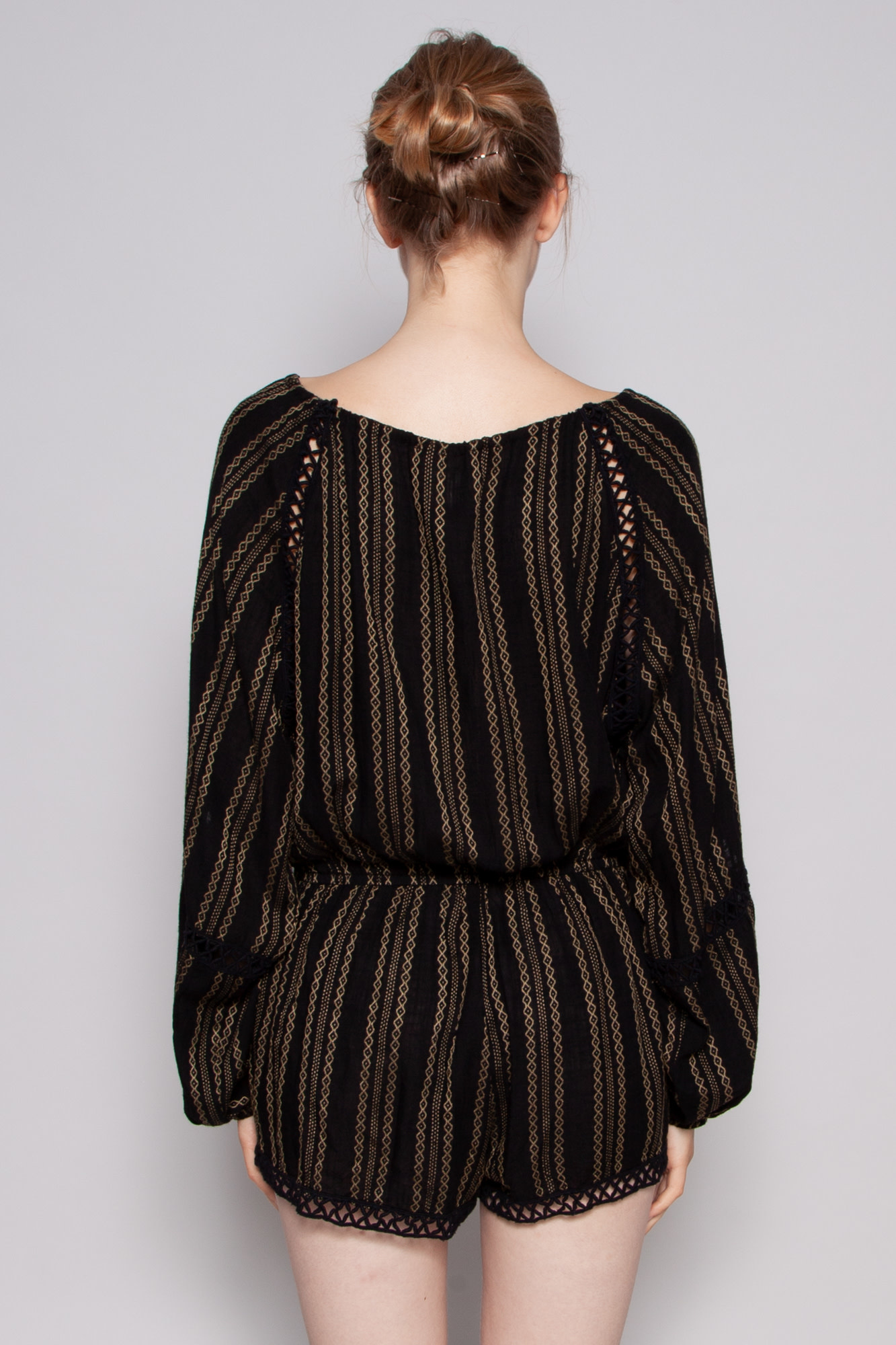 Elan BLACK JUMPSUIT WITH GOLD PRINT - NEW WITH TAG