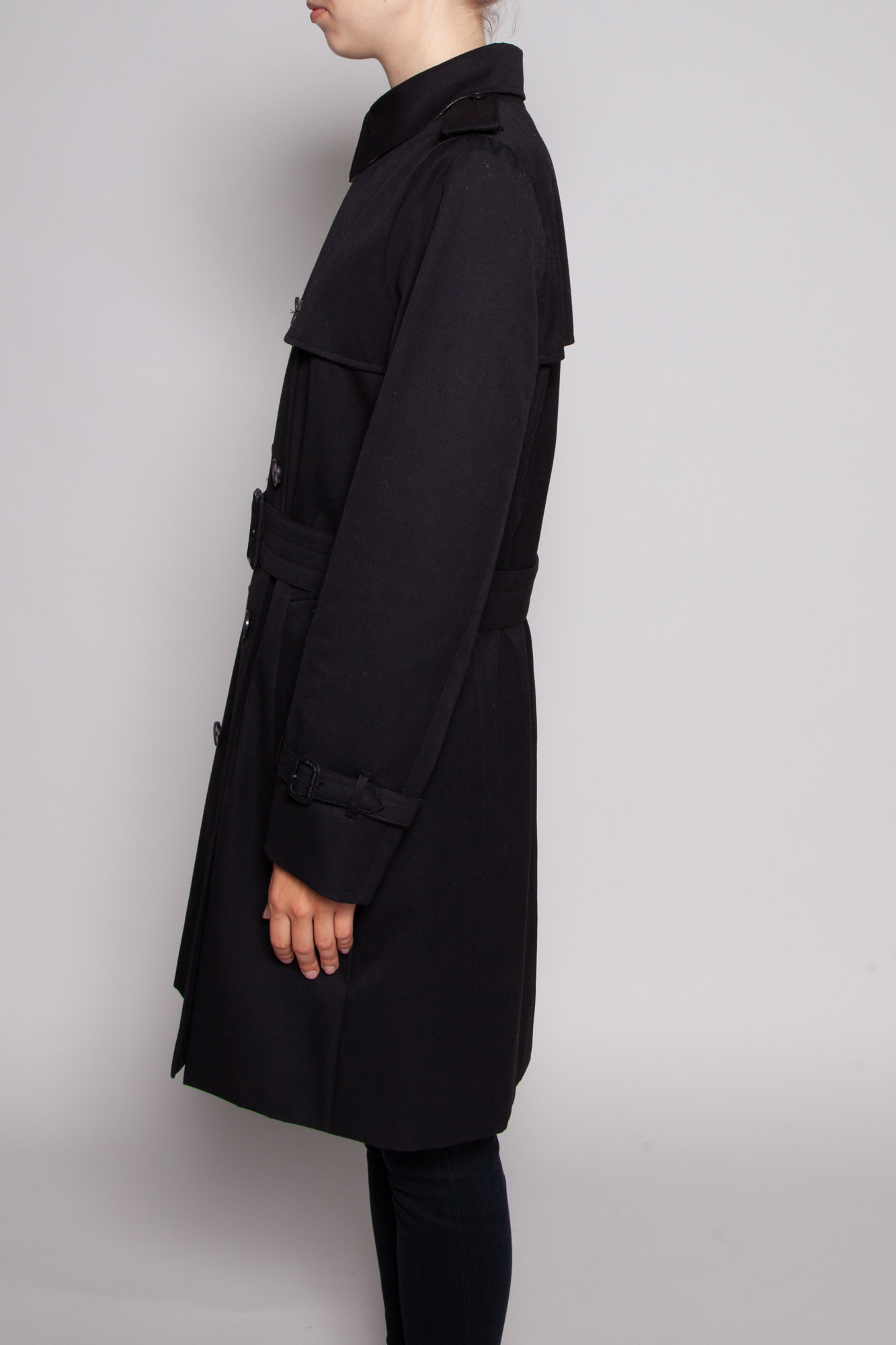 Aquascutum BLACK TRENCH COAT LINED WITH HOUNDSTOOTH PATTERN