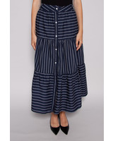 LONG NAVY SKIRT WITH WHITE STRIPES AND BUTTONS - NEW