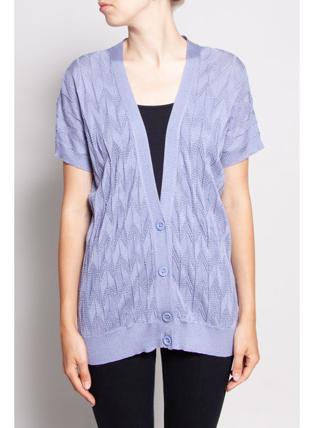 M Missoni PURPLE KNIT EFFECT SHORT-SLEEVED CARDIGAN - NEW WITH TAG