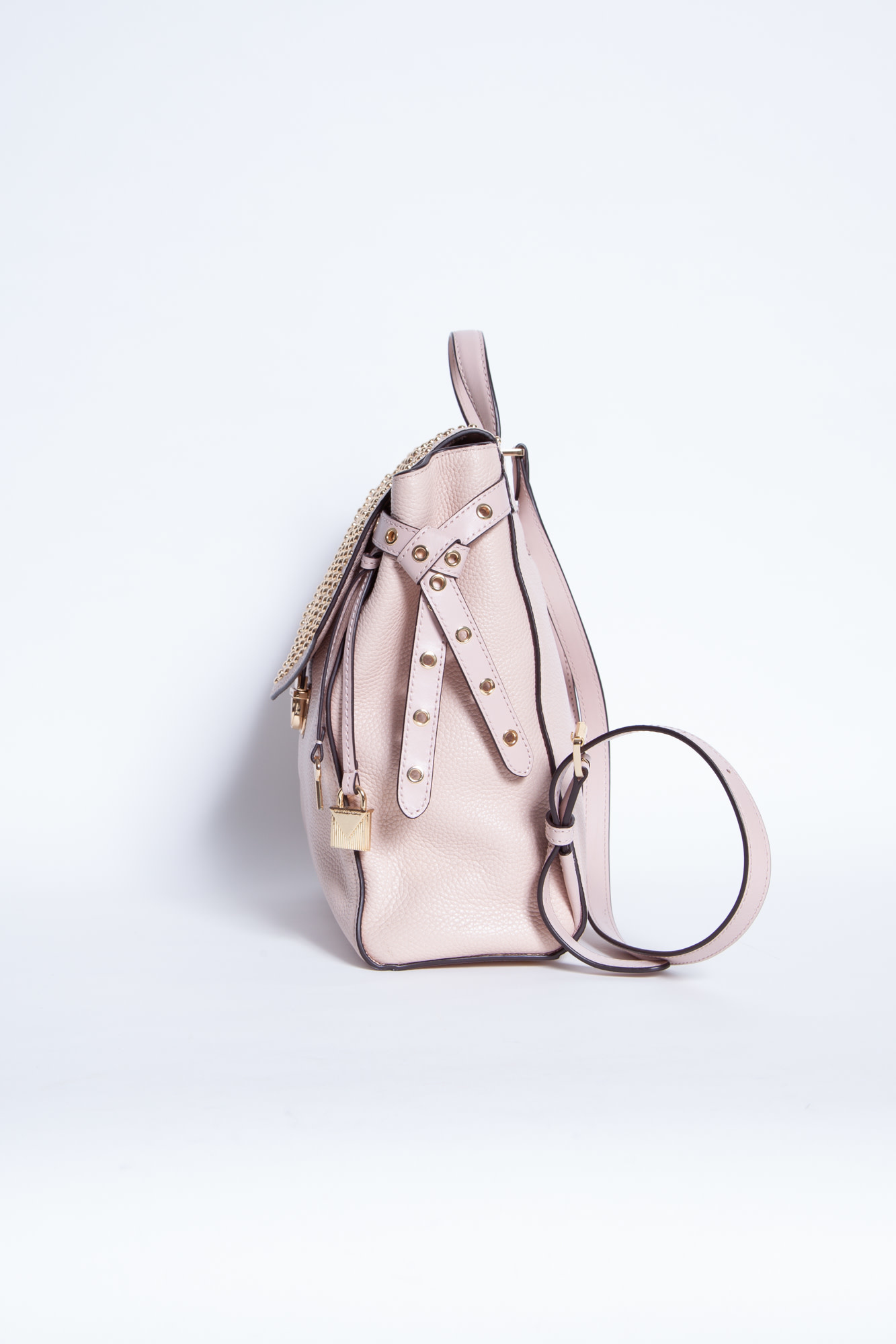 Michael Kors PINK SQUARE BACKPACK WITH GOLD STUDS