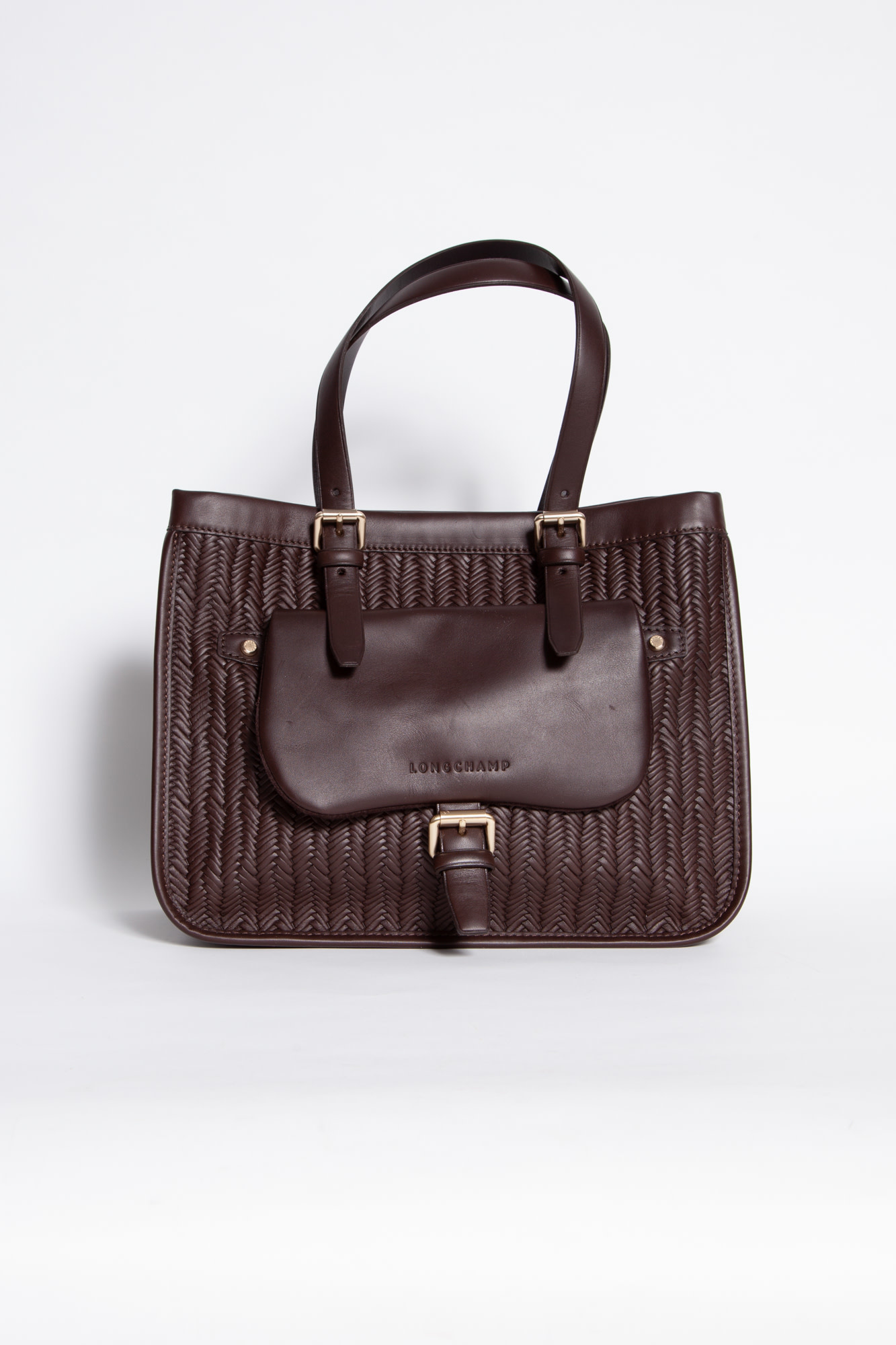 Longchamp BROWN BRAIDED LEATHER BAG WITH FRONT POCKET