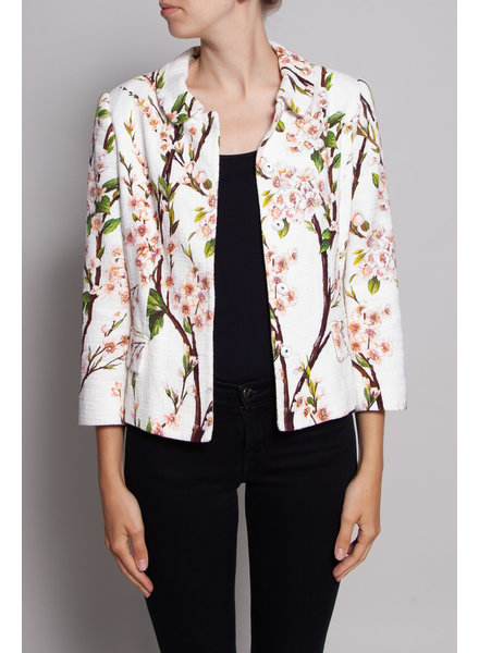 Dolce & Gabbana OFF-WHITE JACKET WITH PINK FLOWER PRINT