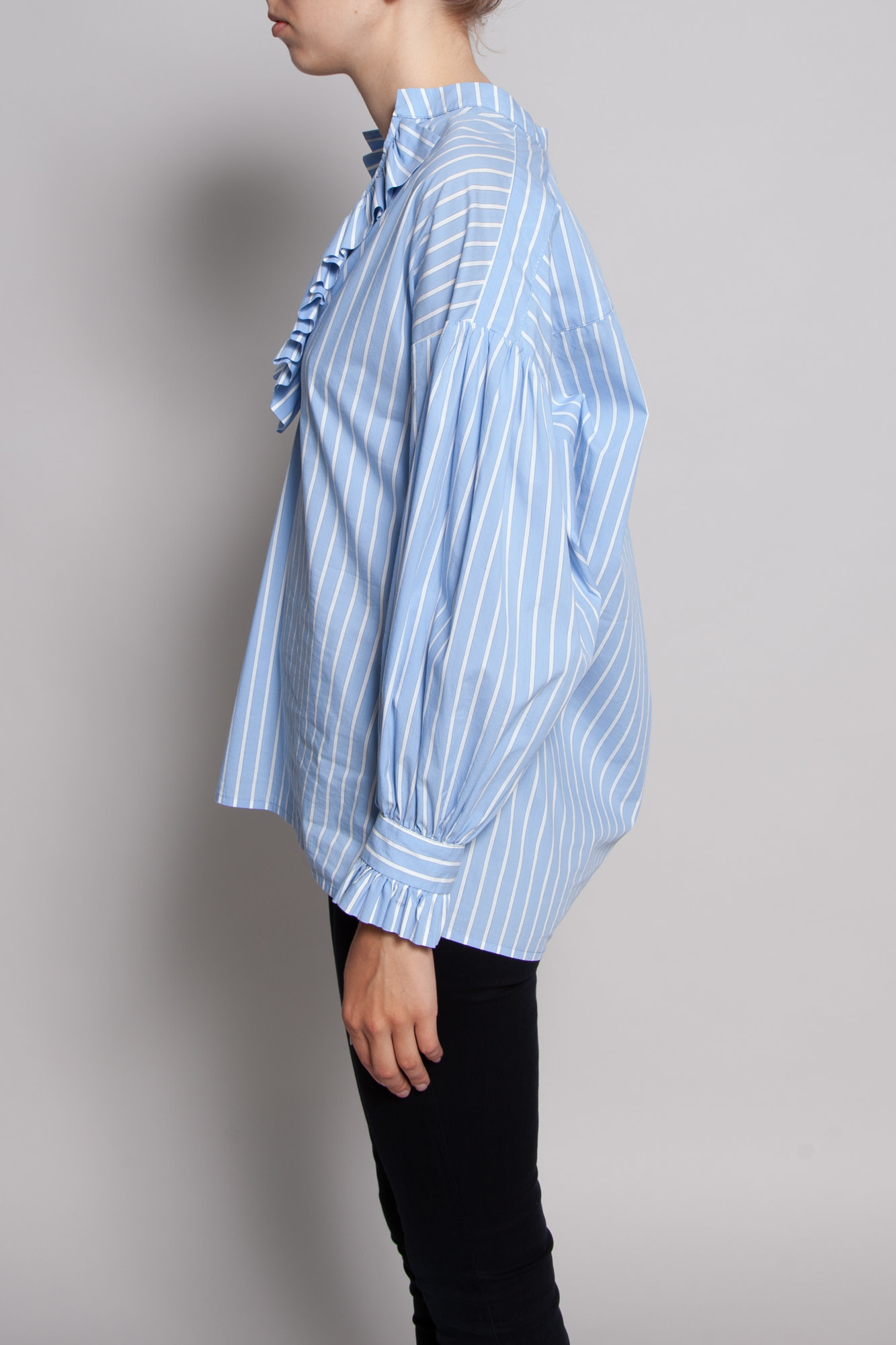 Tenax LIGHT BLUE SHIRT WITH WHITE STRIPES AND FRILLS
