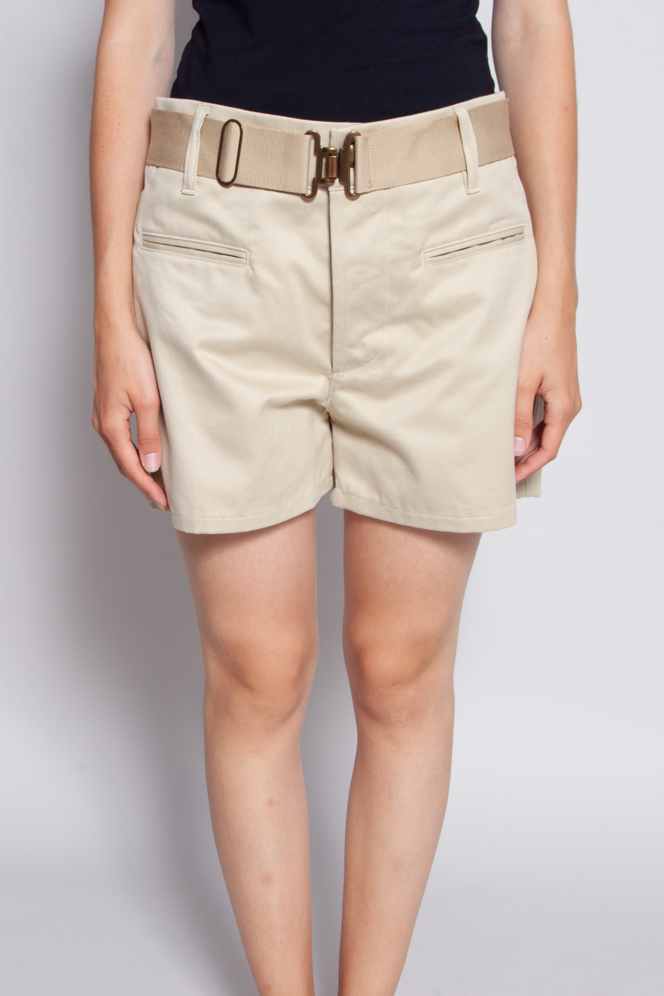 Chloé BEIGE COTTON SHORTS WITH BELT - NEW WITH TAG