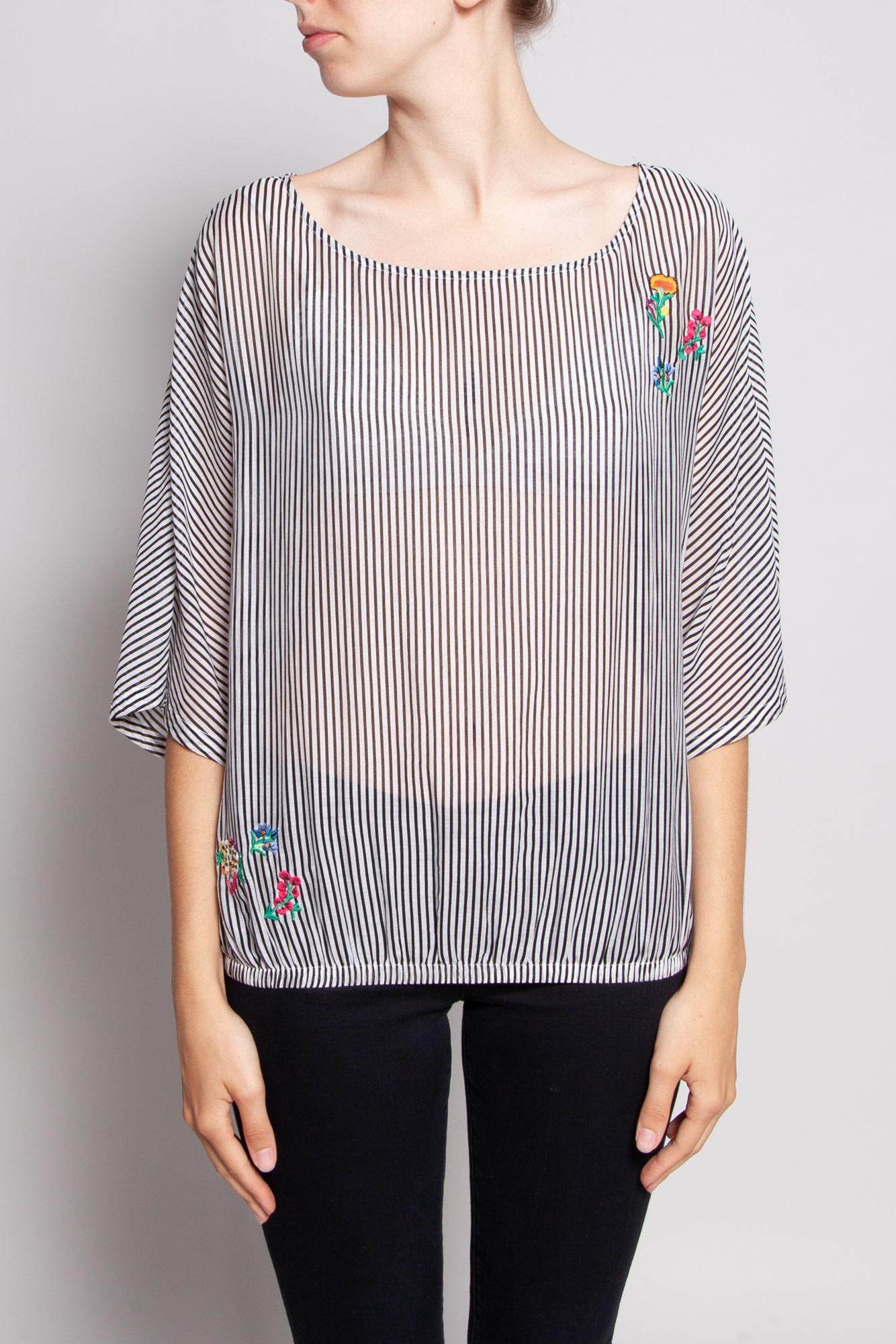 Twin Set STRIPED TOP WITH FLOWERS EMBROIDERY