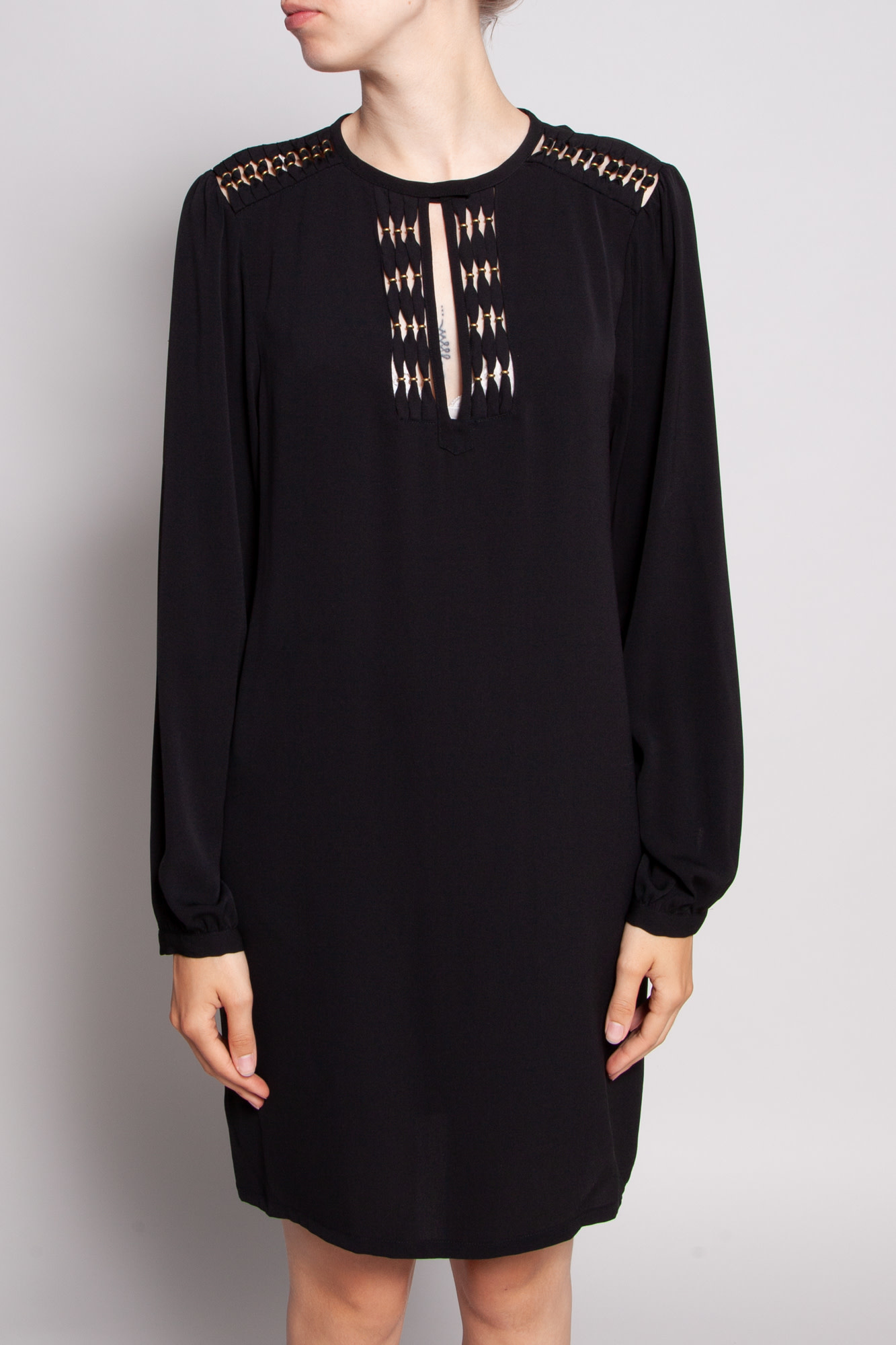 Diane von Furstenberg BLACK SILK DRESS WITH GOLDEN DETAILS