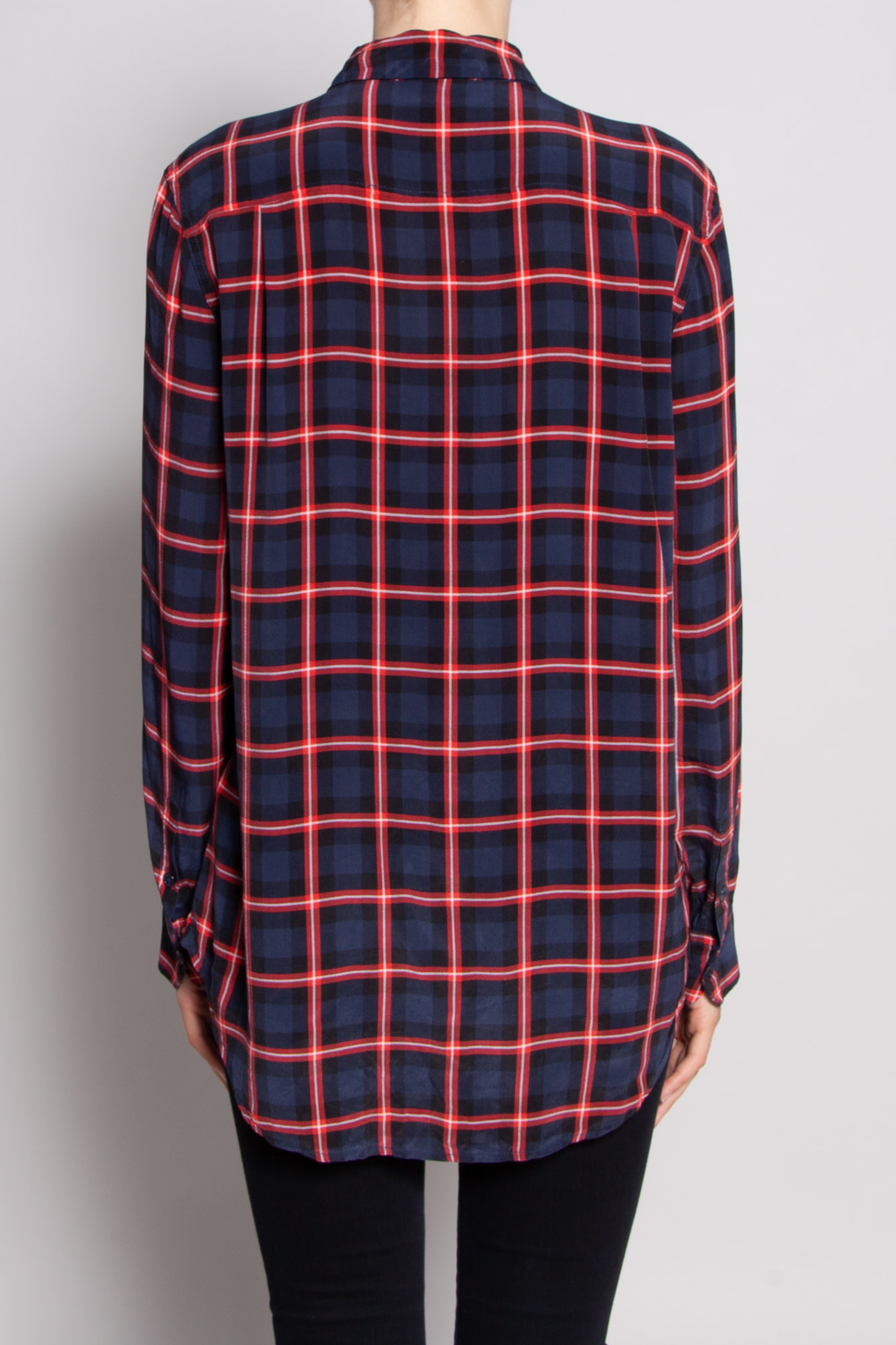 Equipment NAVY AND RED CHECK SHIRT