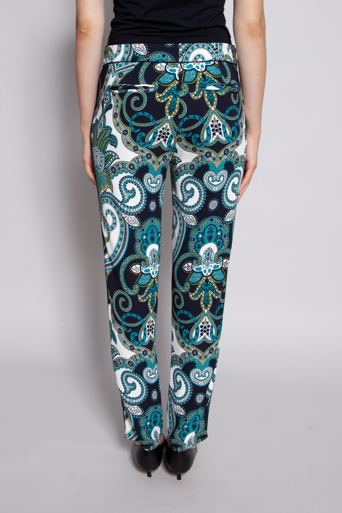 ETRO TURQUOISE, KHAKI AND BLACK PRINT PANTS