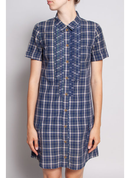 A.P.C. SHORT-SLEEVED PLAID SHIRT DRESS