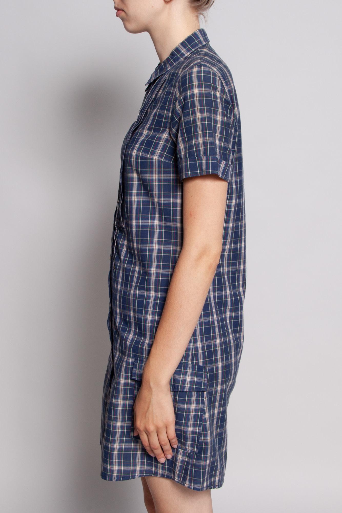 A.P.C. SHORT-SLEEVED PLAID SHIRT DRESS