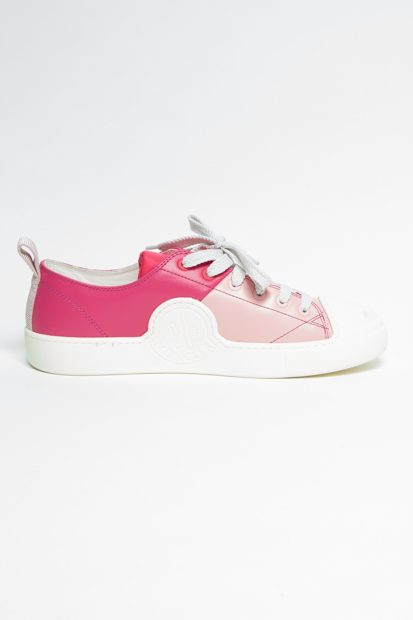 """Moncler """"MONCLER"""" PINK AND WHITE SNEAKERS - NEW"""