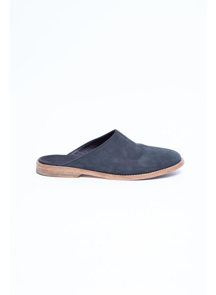 James Perse NAVY MULES WITH WOODEN SOLE