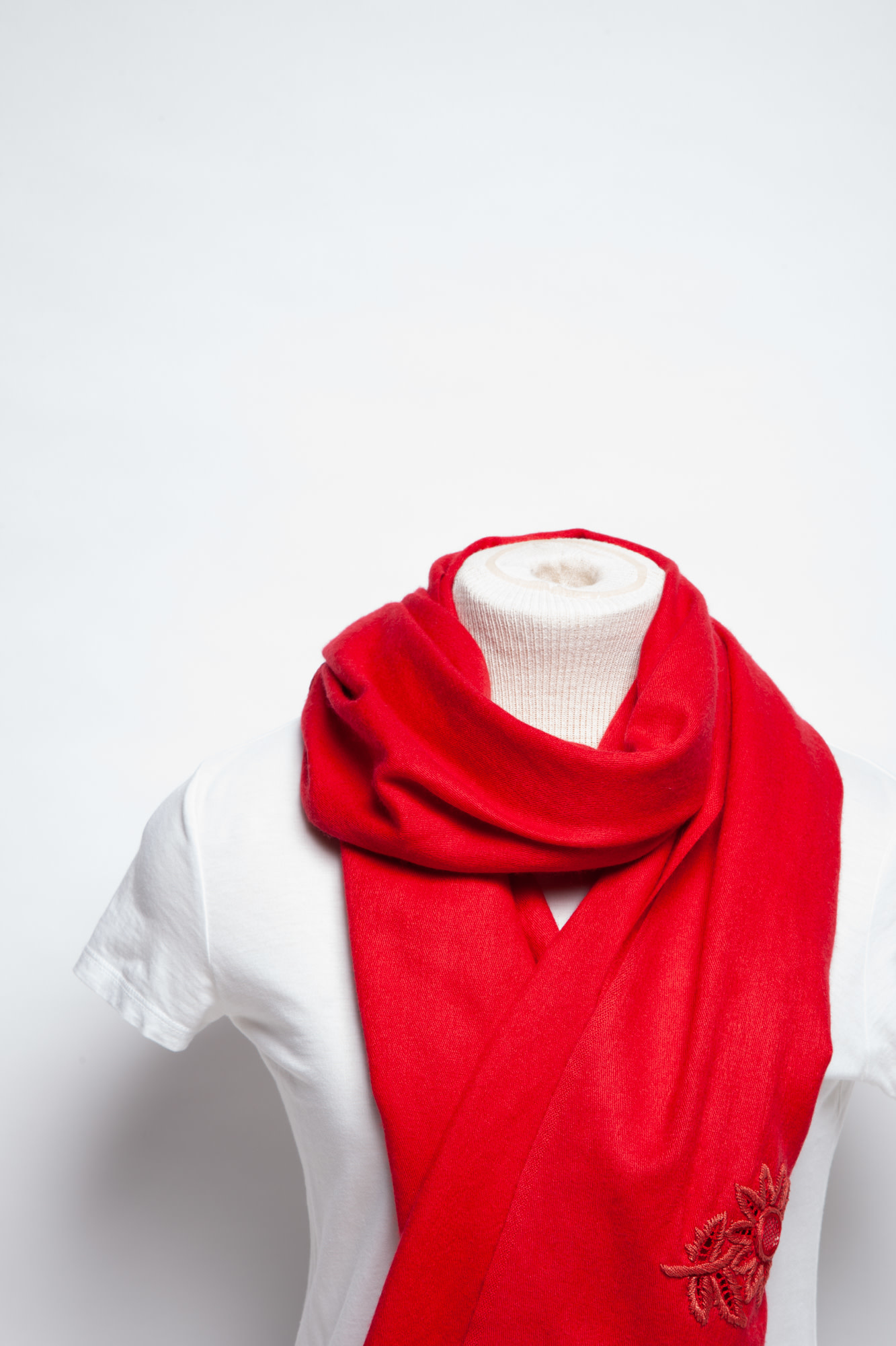Paul Smith RED SILK AND WOOL SCARF