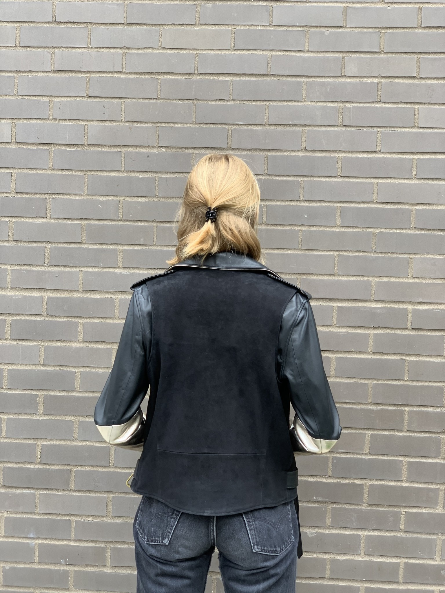 Alice Balas LEATHER AND SUEDE PERFECTO WITH SILVER SLEEVES