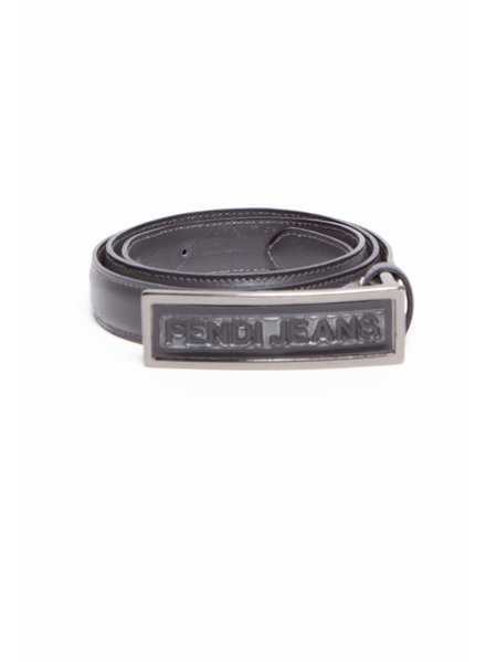 "Fendi Jeans DARK GRAY BELT WITH ""FENDI JEANS"" BUCKLE"