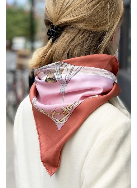 Hermès PRINTED PINK SILK SQUARE