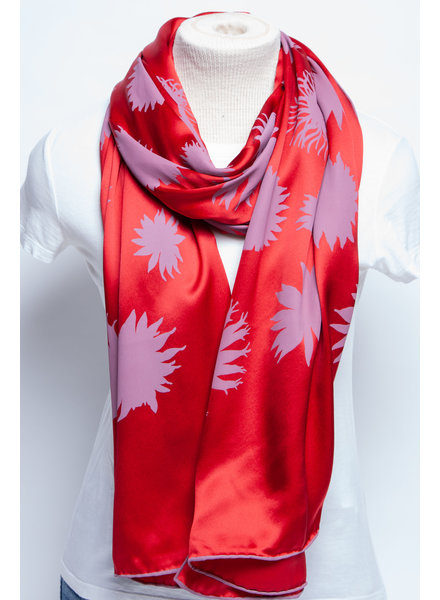 Salvatore Ferragamo RED PATTERNED SILK SCARF