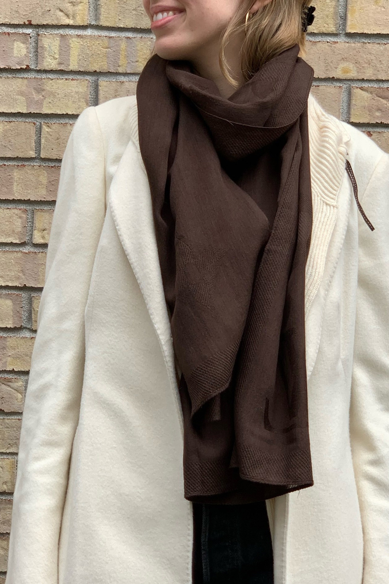 Louis Vuitton DARK BROWN SCARF WITH LARGE MONOGRAMS