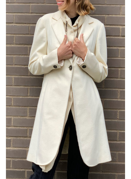 Brunello Cucinelli NEW PRICE (WAS $1050) - OFF-WHITE CASHMERE COAT WITH KNIT COLLAR