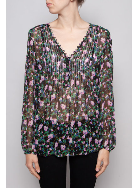 Veronica Beard SILK FLORAL PRINT BLOUSE