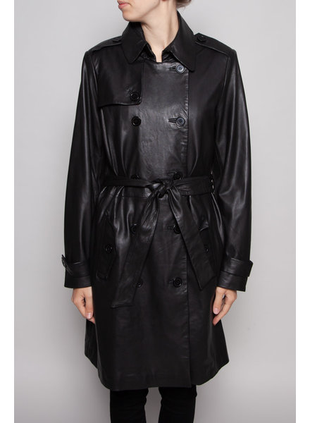 SET BLACK LEATHER TRENCH