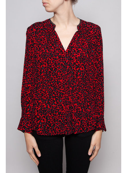Zadig & Voltaire RED TOP WITH LEOPARD PRINT - NEW