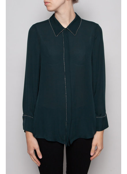 Judith & Charles FOREST GREEN SILK BLOUSE