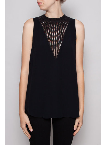 A.L.C. BLACK SLEEVELESS TOP WITH KNITTED COLLAR