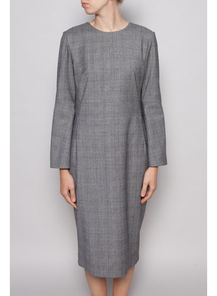 Éditions de Robes GREY HOUNDSTOOTH PRINT DRESS