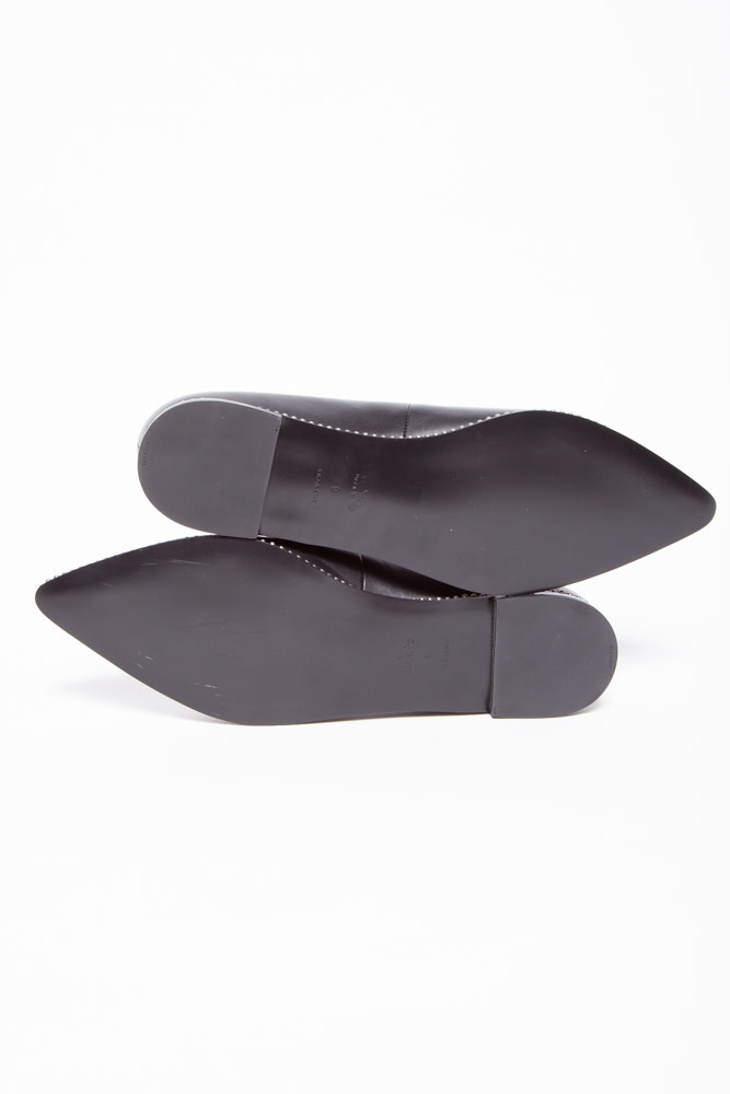 Coach BLACK LEATHER BALLERINAS WITH POINTED TIP