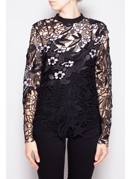 Self-Portrait BLACK LACE  EMBROIDERED FLOWER TOP