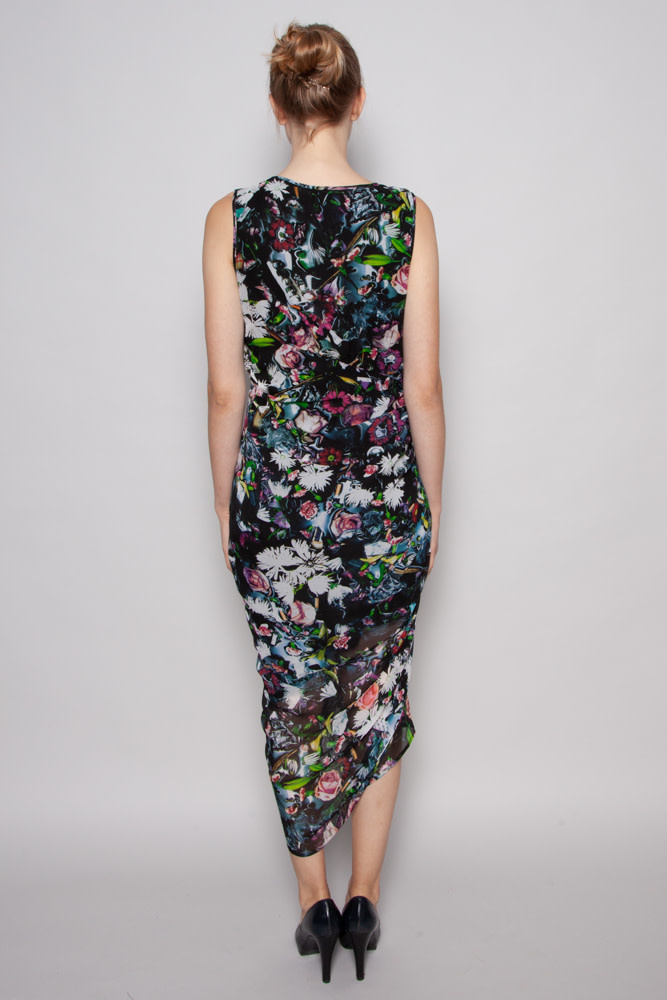 McQ Alexander McQueen FLOWER PRINT ASYMETRICAL SILK DRESS