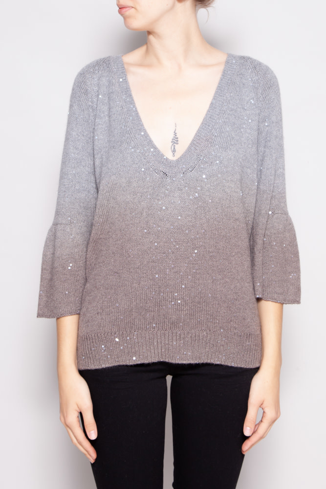 Brunello Cucinelli GREY CASHMERE AND SILK SEQUINED SWEATER