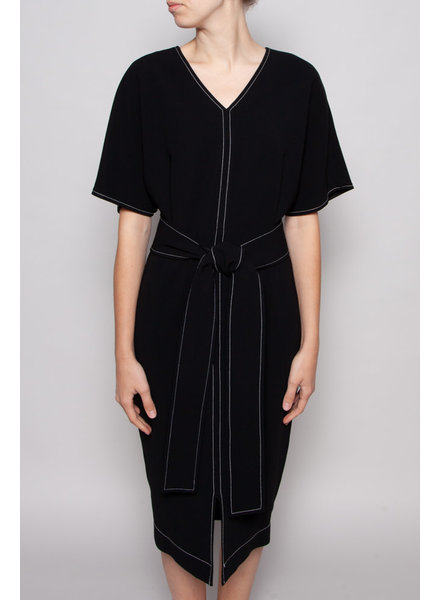 Éditions de Robes BLACK DRESS WITH WHITE STITCHES