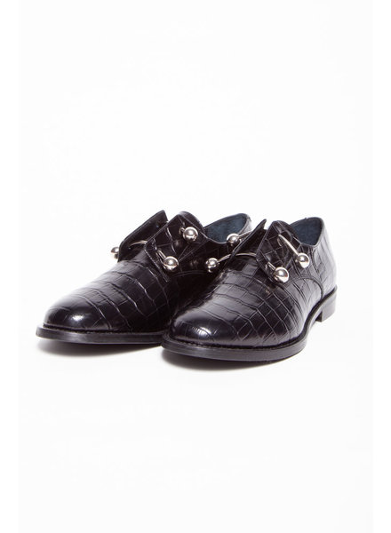 Jonak BLACK CROCO-EFFECT SHOES WITH METAL DETAILS - NEW