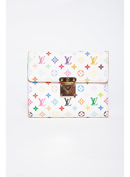Louis Vuitton WHITE MONOGRAM MULTICOLOR JOEY WALLET