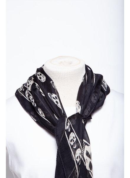 Alexander McQueen BLACK SILK SCARF WITH SKULL PRINT