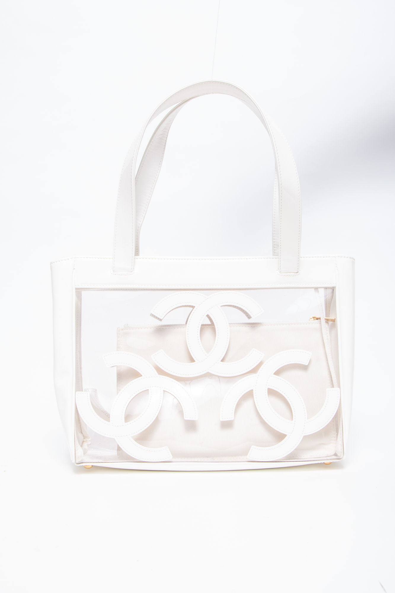 Chanel WHITE VINYL AND LEATHER TOTE BAG