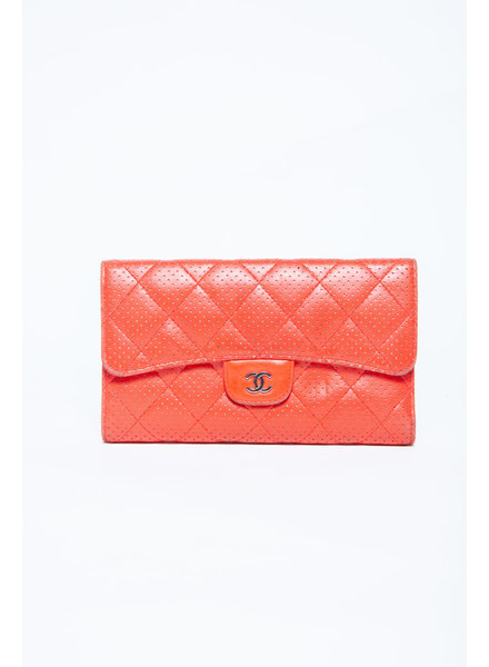 Chanel RED LEATHER QUILTED WALLET